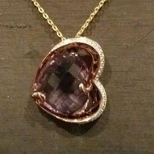 Amethyst heart shape silver necklace ❤❤